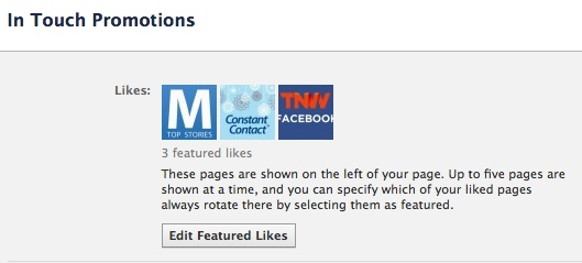 "Facebook Business Page Featured Likes are found on your ""edit page"""