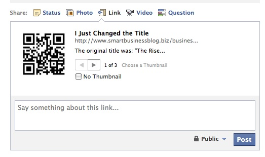 Rename Articles and Descriptions before sharing an article on Facebook