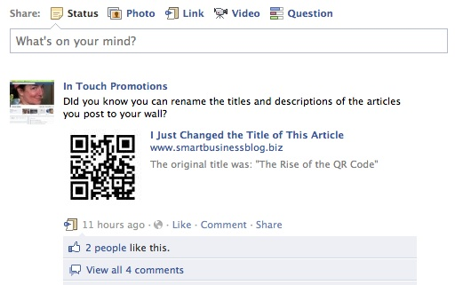 You can rename articles before posting to your Facebook profile
