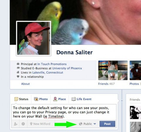 Change Facebook privacy settings on your new Facebook Wall