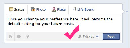 You change the default Facebook privacy settings right on your new Facebook wall