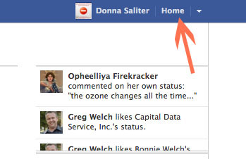 To delete Facebook business pages first click on the drop down arrow next to the Home link