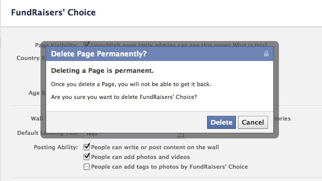 Click Delete on the Delete Page Permanently Button and you will delete the Facebook busines page