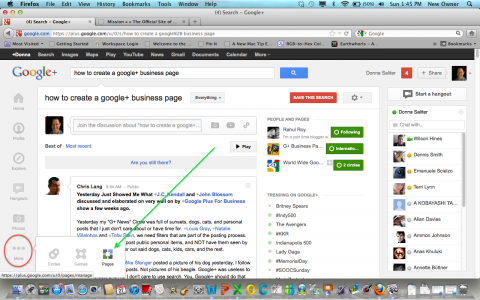 "Click on the Google+ ""More icon"" to get to your ""Pages"" page"